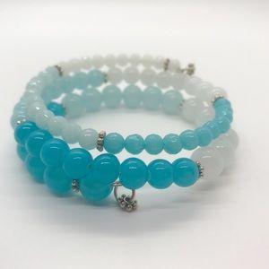 Blue Ombré Glass Beaded Wrap Bangle Bracelet
